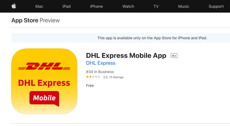 DHL Express app iOS