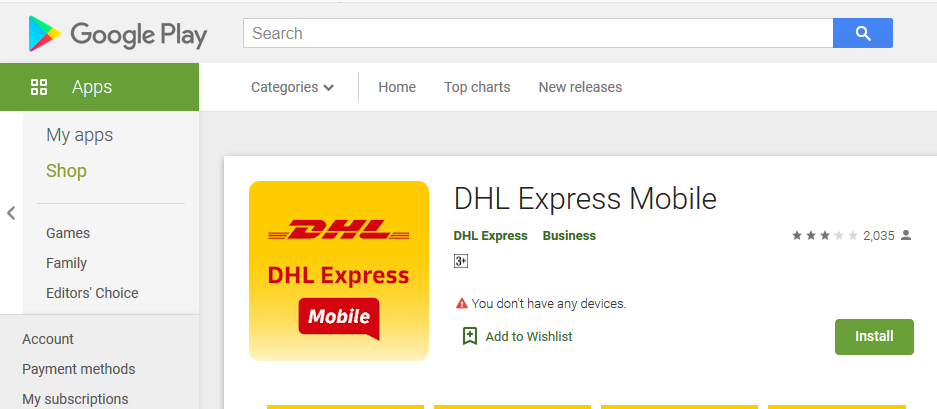 DHL Express app android